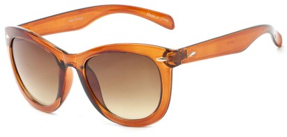 Angle of Taurus #1511 in Brown/Clear Frame with Amber Lenses, Women's Retro Square Sunglasses