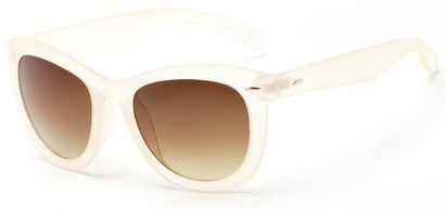 Angle of Taurus #1511 in Clear/Frosted Frame with Amber Lenses, Women's Retro Square Sunglasses