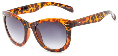 Angle of Taurus #1511 in Tortoise Frame with Smoke Lenses, Women's Retro Square Sunglasses