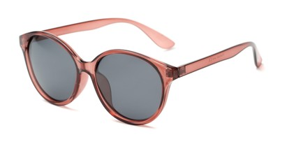 Angle of Dolores #16021 in Rose Pink Frame with Grey Lenses, Women's Round Sunglasses