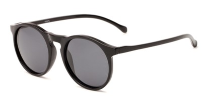 Angle of Potrero #16030 in Glossy Black Frame with Grey Lenses, Women's and Men's Round Sunglasses
