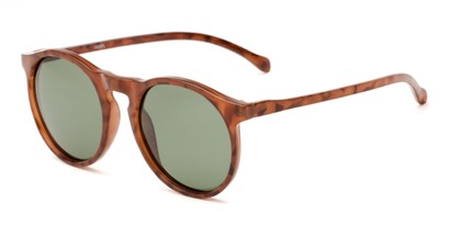 Angle of Potrero #16030 in Glossy Tortoise Frame with Green Lenses, Women's and Men's Round Sunglasses