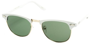 Angle of Midway #1603 in White Frame with Green Lenses, Women's and Men's Browline Sunglasses