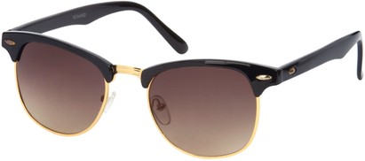 Angle of SW Fashion Style #1604 in Black and Gold Frame, Women's and Men's