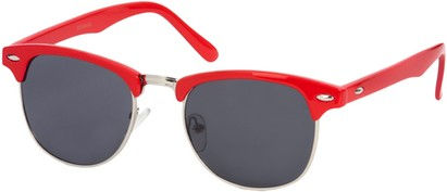 Angle of SW Fashion Style #1604 in Red Frame with Smoke Lenses, Women's and Men's
