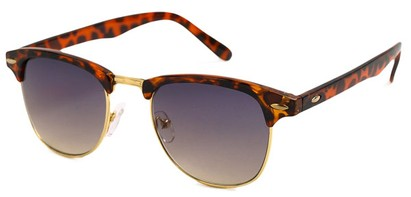 Angle of SW Fashion Style #1604 in Tortoise and Gold with Smoke Lenses, Women's and Men's