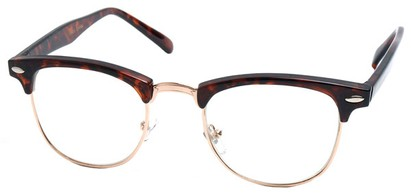 Angle of SW Fashion Style #1604 in Tortoise Frame with Clear Lenses, Women's and Men's