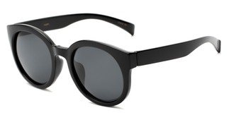Angle of Monroe #16080 in Black Frame with Grey Lenses, Women's Round Sunglasses