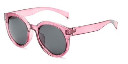 Angle of Monroe #16080 in Pink Frame with Grey Lenses, Women's Round Sunglasses