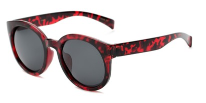 Angle of Monroe #16080 in Red Tortoise Frame with Grey Lenses, Women's Round Sunglasses