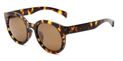 Angle of Monroe #16080 in Tortoise Frame with Amber Lenses, Women's Round Sunglasses
