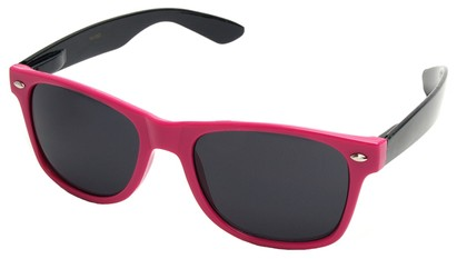 Angle of Michigan #1608 in Hot Pink and Black Frame, Women's and Men's Retro Square Sunglasses