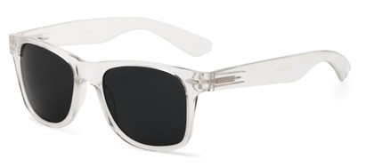 Angle of Michigan #1608 in Clear Frame with Grey Lenses, Women's and Men's Retro Square Sunglasses