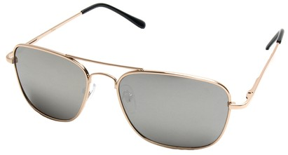 Angle of SW Aviator Style #1609 in Gold Frame with Mirrored Lenses, Women's and Men's
