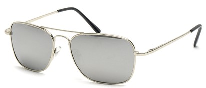 Angle of SW Aviator Style #1609 in Silver Frame with Mirrored Lenses, Women's and Men's