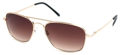 Angle of SW Aviator Style #1609 in Gold Frame with Gold Lenses, Women's and Men's