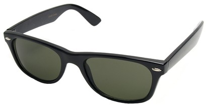 Angle of Trailblazer #1684 in Black Frame with Smoke Green Lenses, Women's and Men's Retro Square Sunglasses