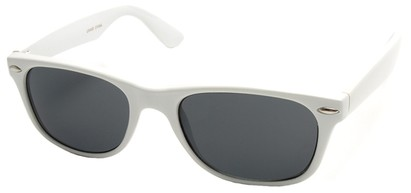 Angle of Trailblazer #1684 in White Frame with Smoke Lenses, Women's and Men's Retro Square Sunglasses