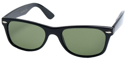 Angle of SW Retro Style #1687 with Glass Lenses in Black Frame with Green Lenses, Women's and Men's