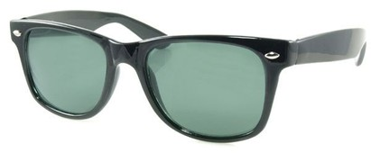 Angle of SW Retro Style #1688 in Black Frame with Black Lenses, Women's and Men's