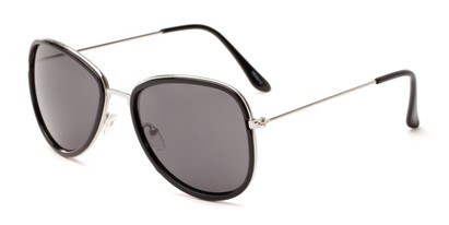 Angle of Brush #16012 in Black/Silver Frame with Grey Lenses, Women's Round Sunglasses