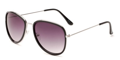 Angle of Brush #16012 in Black/Silver Frame with Smoke Gradient Lenses, Women's Round Sunglasses