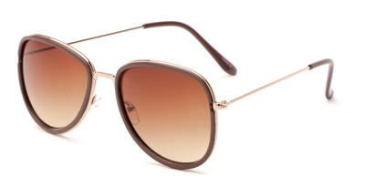 Angle of Brush #16012 in Brown/Gold Frame with Amber Gradient Lenses, Women's Round Sunglasses