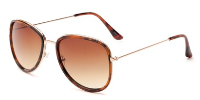 Angle of Brush #16012 in Tortoise/Gold Frame with Amber Gradient Lenses, Women's Round Sunglasses