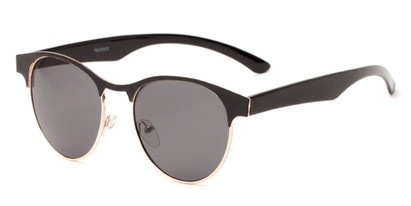 Angle of Kindred #1600 in Black/Gold Frame with Grey Lenses, Women's Browline Sunglasses