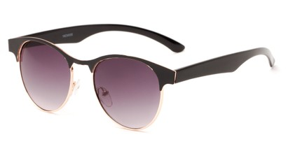 Angle of Kindred #1600 in Black/Gold Frame with Smoke Gradient Lenses, Women's Browline Sunglasses