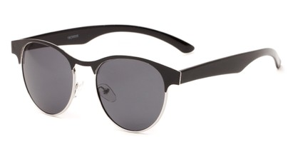 Angle of Kindred #1600 in Black/Silver Frame with Grey Lenses, Women's Browline Sunglasses