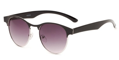 Angle of Kindred #1600 in Black/Silver Frame with Smoke Gradient Lenses, Women's Browline Sunglasses