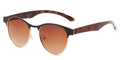 Angle of Kindred #1600 in Black/Tortoise Frame with Amber Gradient Lenses, Women's Browline Sunglasses