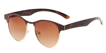 Angle of Kindred #1600 in Brown/Tortoise Frame with Amber Gradient Lenses, Women's Browline Sunglasses
