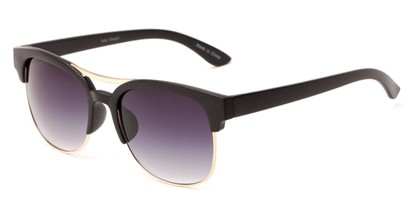 Angle of Bogota #16010 in Black/Gold Frame with Smoke Gradient Lenses, Women's and Men's Browline Sunglasses
