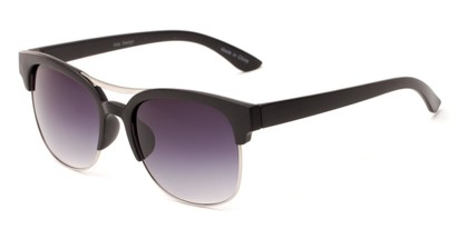 Angle of Bogota #16010 in Black/Silver Frame with Smoke Gradient Lenses, Women's and Men's Browline Sunglasses