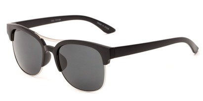 Angle of Bogota #16010 in Black/Silver Frame with Grey Lenses, Women's and Men's Browline Sunglasses