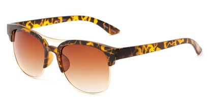 Angle of Bogota #16010 in Tortoise/Gold Frame with Amber Gradient Lenses, Women's and Men's Browline Sunglasses