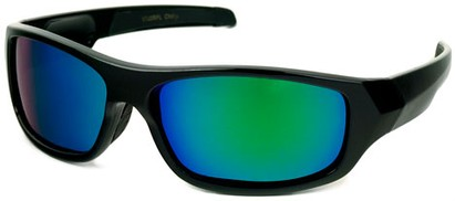 Angle of Ripcord #2194 in Black Frame with Blue/Green Mirrored Lenses, Men's Sport & Wrap-Around Sunglasses