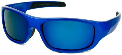 Angle of Ripcord #2194 in Royal Blue Frame with Blue Mirrored Lenses, Men's Sport & Wrap-Around Sunglasses