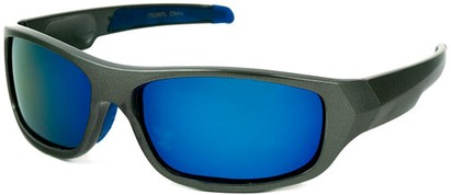 Angle of Ripcord #2194 in Grey Frame with Blue Mirrored Lenses, Men's Sport & Wrap-Around Sunglasses
