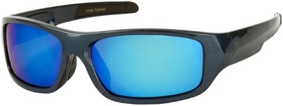 Angle of Ripcord #2194 in Grey Blue Sparkle Frame with Blue Lens, Men's Sport & Wrap-Around Sunglasses