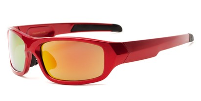 Angle of Ripcord #2194 in Red Frame with Red/Orange Mirrored Lenses, Men's Sport & Wrap-Around Sunglasses