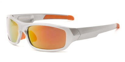 Angle of Ripcord #2194 in Silver Frame with Red/Orange Mirrored Lenses, Men's Sport & Wrap-Around Sunglasses