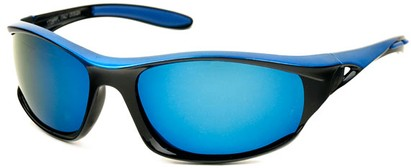 Angle of Halfpipe #2432 in Black and Blue Frame with Blue Lenses, Women's and Men's Sport & Wrap-Around Sunglasses