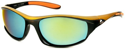 Angle of Halfpipe #2432 in Black and Gold Frame with Yellow Lenses, Women's and Men's Sport & Wrap-Around Sunglasses