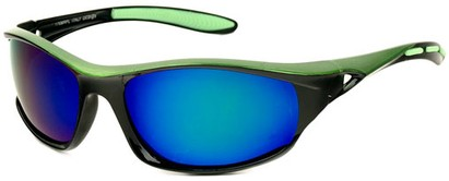 Angle of Halfpipe #2432 in Black and Green Frame with Blue/Green Lenses, Women's and Men's Sport & Wrap-Around Sunglasses