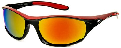 Angle of Halfpipe #2432 in Black and Red Frame with Orange Lenses, Women's and Men's Sport & Wrap-Around Sunglasses