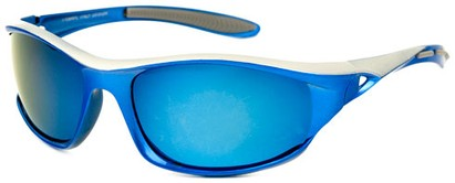 Angle of Halfpipe #2432 in Blue and Silver Frame with Blue Lenses, Women's and Men's Sport & Wrap-Around Sunglasses