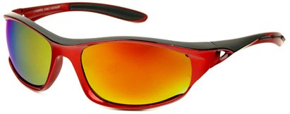 Angle of Halfpipe #2432 in Red and Grey Frame with Orange Lenses, Women's and Men's Sport & Wrap-Around Sunglasses
